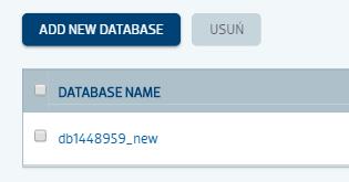 Tworzenie nowej bazy danych w panelu klienta