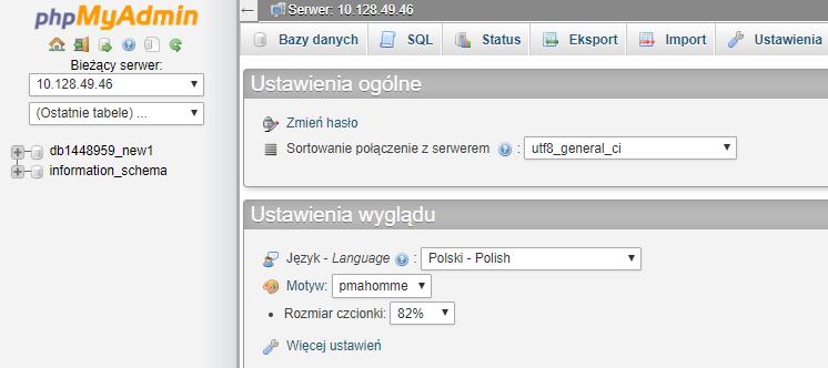 Menadżer baz danych w panelu klienta
