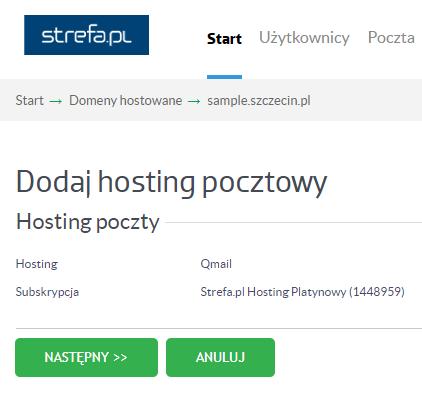 Domeny hostowane > zarządzanie hostingiem w domenie