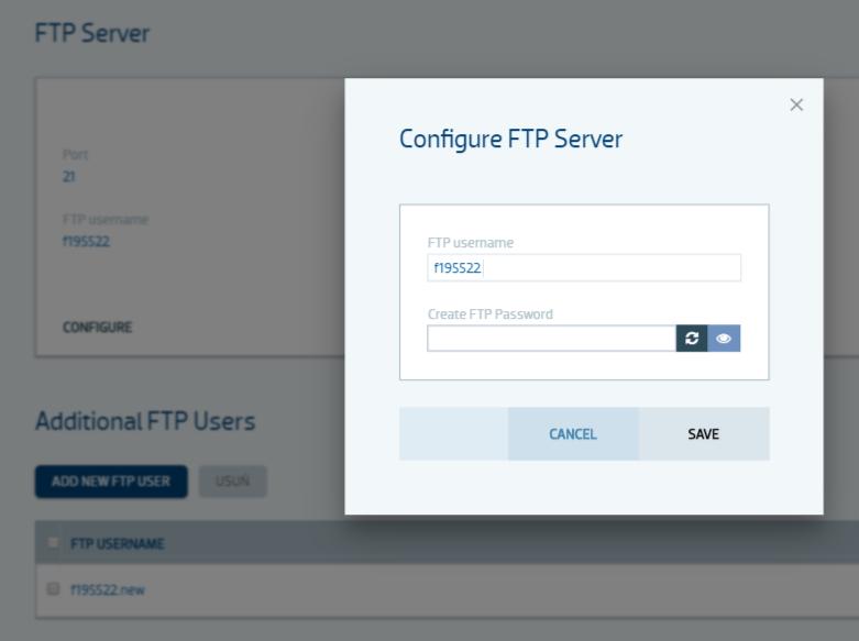 Zmiana hasła do serwera FTP użytkownika