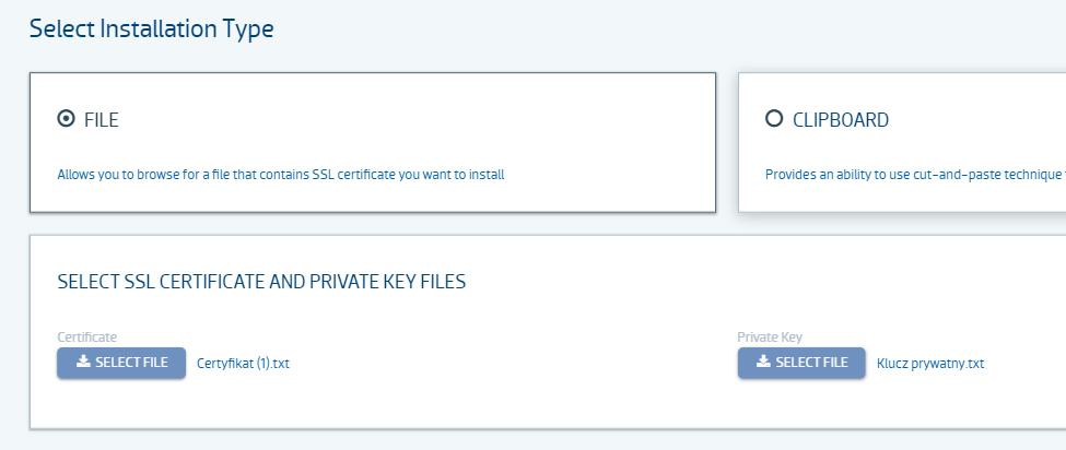 Instalacja certyfikatu SSL w Panelu klienta