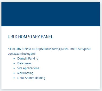 Uruchom stary panel zarządzania usługami strefa.pl