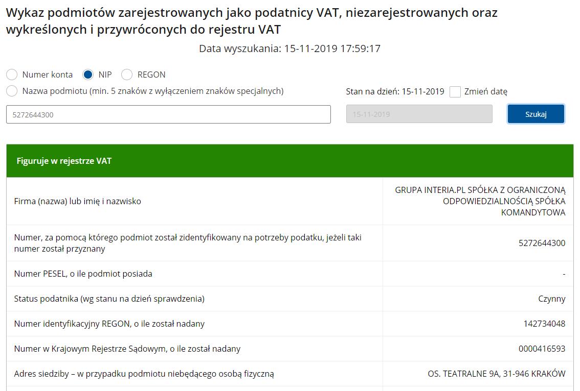 strefa.pl znajduje się na białej liście podatników VAT prowadzonej przez Ministerstwo Finansów.